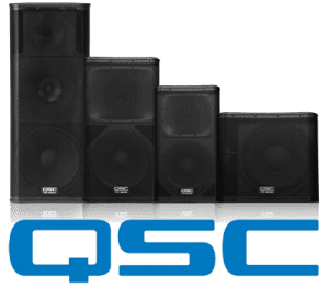 QSC Speakers with Logo